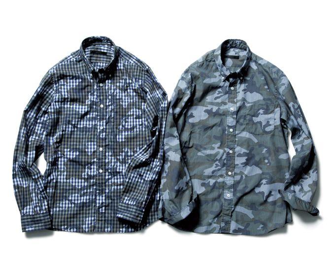 SOPHNET* Camouflage Over Print B.D Shirt