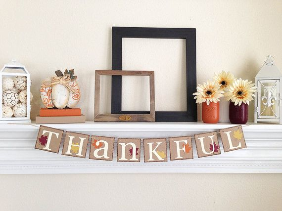 Thanksgiving Decorations Banner  Thankful banner  by ABannerAffair