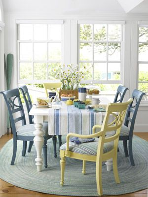 Beach House Decor - Ideas for Beach House Decorating - Country Living#slide-1#slide-1#slide-1 Boards, Dining Room, Decor Ideas, Beach House, Breakfast Nooks, Colors, Dining Table'S, Painting Chairs, Dining Tables