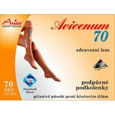Support knee socks Aries AVICENUM 70 provide support and improve blood circulation. Positive effect against the formation of varicose veins and cellulite. AVICENUM 70 prevents intermittentswelling, such as prolonged standing or sitting. Antimicrobial Sanitized Silver finish with activesilver ions prevents the reproduction of microorganisms.  76% Nylon, 24% Lycra. Pressure at the ankle 10-14 mmHg. Buy on ACTIVtights.com
