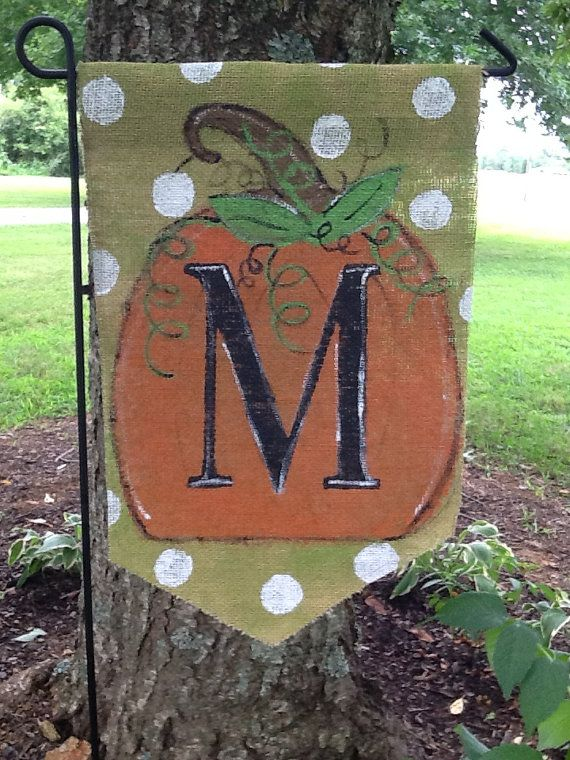 Fall Burlap Yard Flag with Pumpkin and Monogram love this!