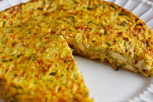 Vegan Zucchini Frittata (230 cal, 22 g protein for half a 9 inch pie plate)