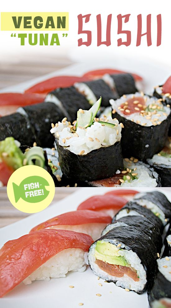 "Vegan ""Tuna"" Sushi made with ""Tomato Sushi"" – Along with the ""Tomato Sushi,"" we used cucumber sliced thin from our mandolin along with avocado. The results were absolutely delicious! 