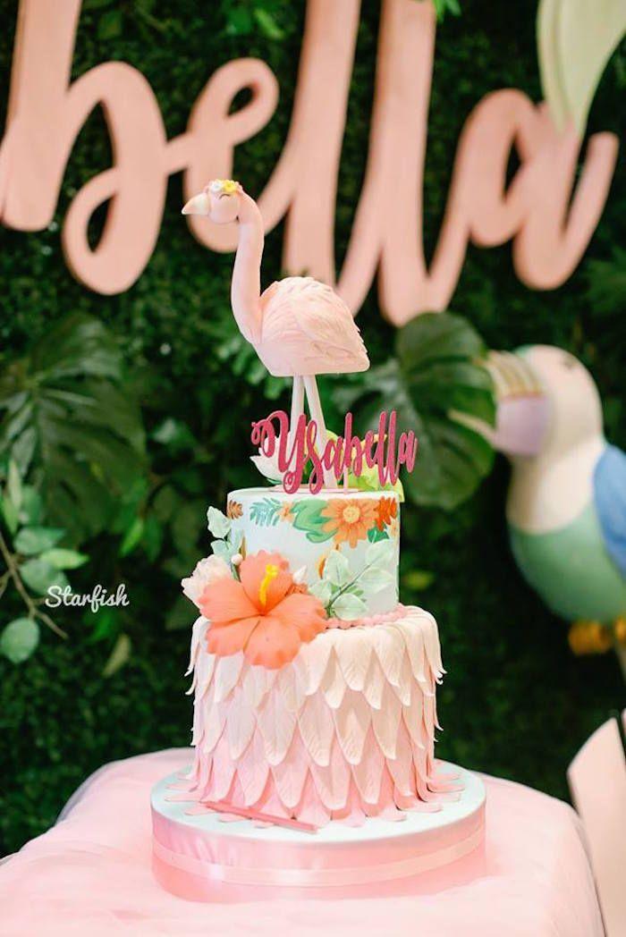 Super Tropical Flamingo Birthday Party Tropical Birthday Cake Birthday Cards Printable Trancafe Filternl