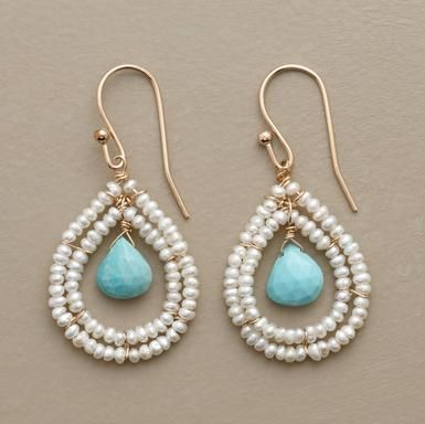 seed pearls - larimar|| I've used this design before. It's great for using really special seed beeds and nice semiprecious teardrops.