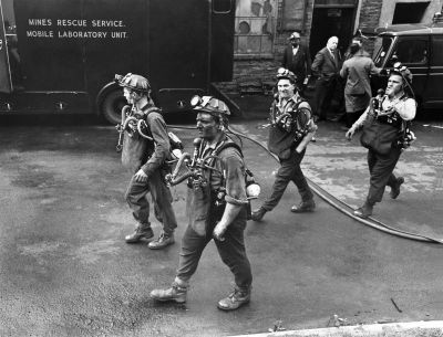 rescuers prepare to go down the blast-shattered pit at Tonypandy, Wales, May 1965