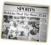 Redskins Super Bowl History | Super Bowl XXVI - Washington Redskins vs. Buffalo Bills
