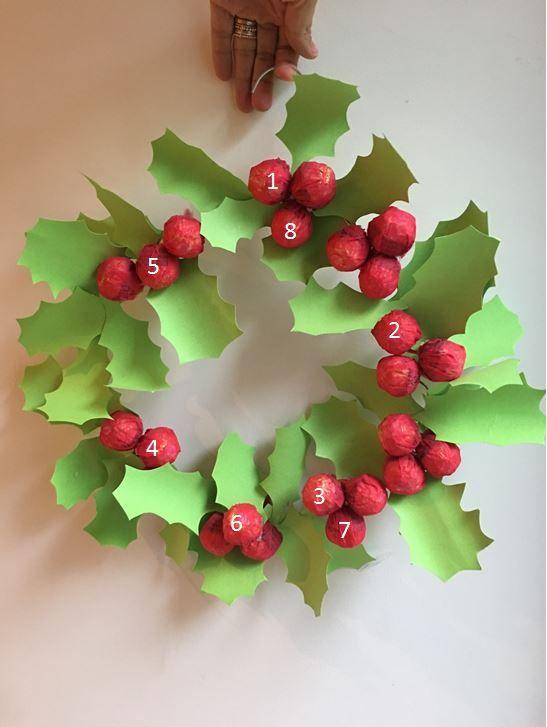 Calendrier de l'avent feuille de houx - Couronne - Advent Calendar - Holly leaf - homemade advent calendar - Christmas