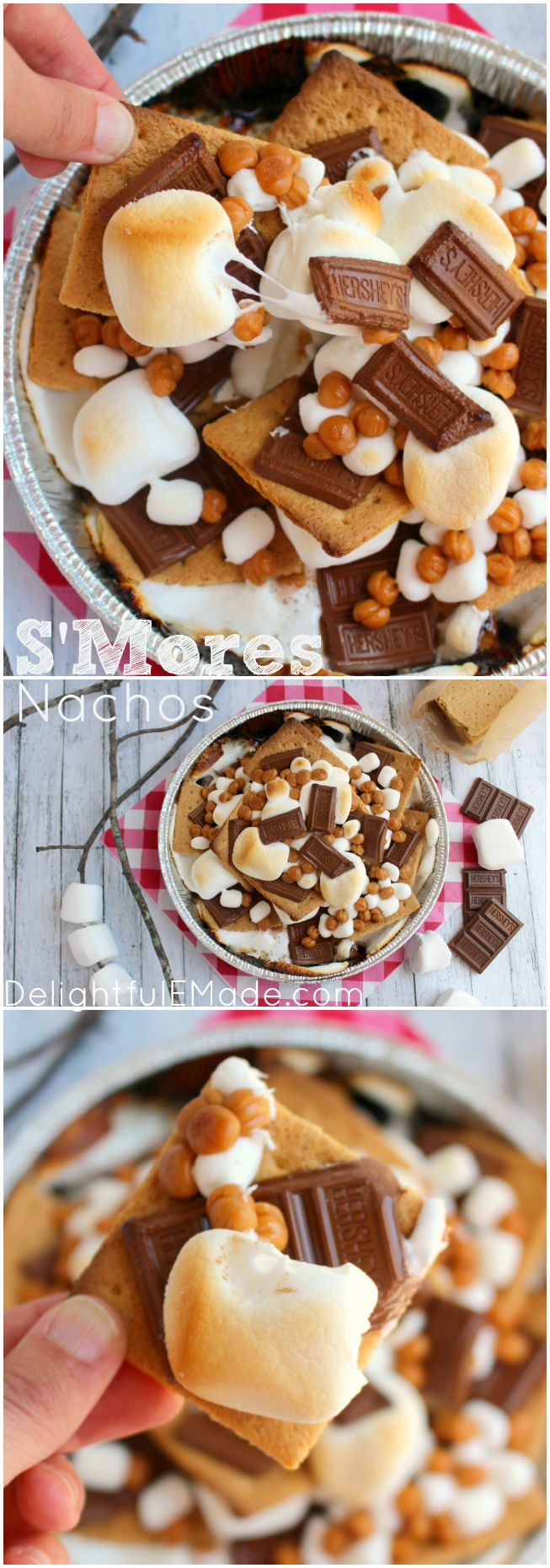 A fun way for the entire family to enjoy s'mores right from the grill! Ready in under 10 minutes, and topped with all your favorites, these easy and delicious S'mores Nachos will having you going in for more! #LetsMakeSmores #ad