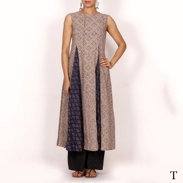 Grey and blue ajrakh handmade ladies kurta | Tjori