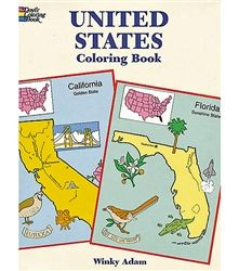 A creative way for kids 3-8 to get to know America! United States Coloring Book by Dover is packed with fun facts including state flowers, birds & trees, nicknames, mottoes, capital cities, rivers & more.  With interesting illustrations to color for each state, America's geography becomes an art project.  Kids remember what they color!  Made in the USA on recycled paper.   http://www.pillypootnik.com/dover-united-states-of-america-coloring-book-p/d0486401685.htm #learn_about_america…