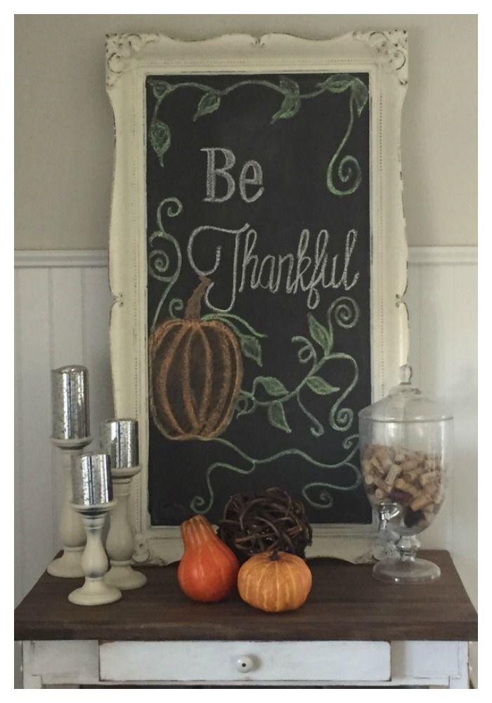 fall be thankful chalkboard