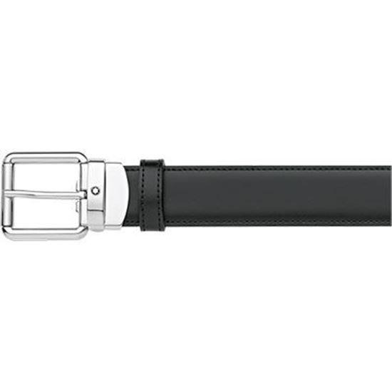 Fibbia ad ardiglione squadrata-arrotondata finitura palladio lucido con emblema Montblanc. Cinghia in pelle reversibile nera e marrone auto-regolabile, 3 cm x 120 cm.