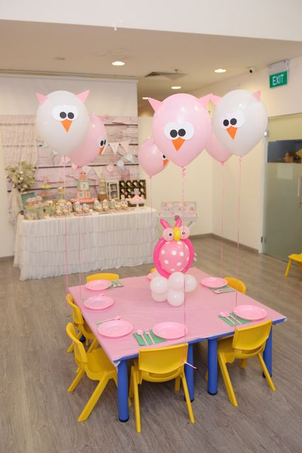 Owl balloons at an Owl Birthday Party!  See more party ideas at CatchMyParty.com!