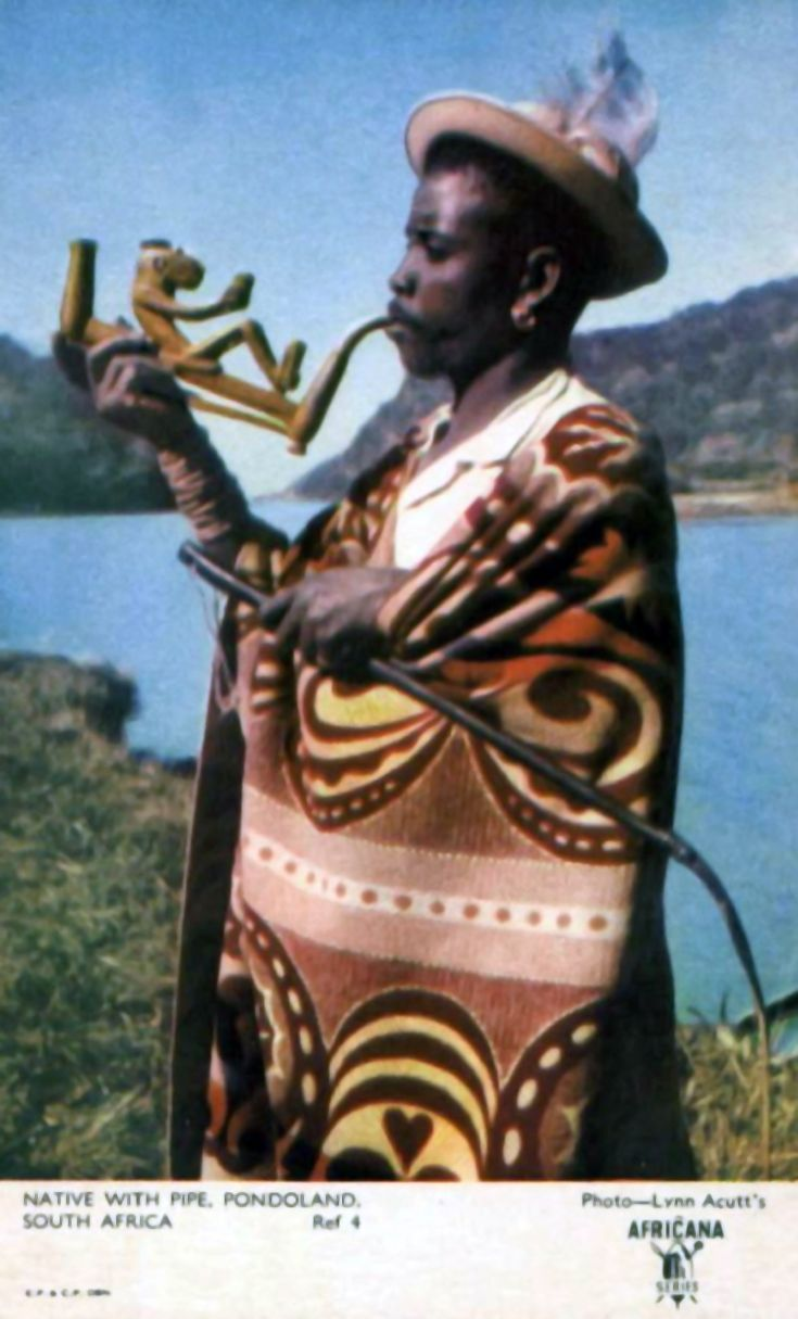 Africa | Man smoking a pipe.  Pondoland, South Africa || Vintage postcard; Africana Series.  Photo Lynn Acutt.  No.4