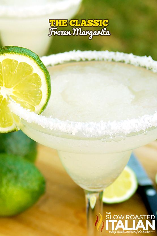 Classic Frozen Margarita made with Jose Cuervo Gold. It is a perfectly sweet fr