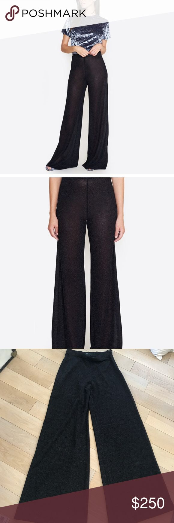 Rachel comey pants Rachel comey cleric shimmer pants. These are sold out almost everywhere! New for fall 2017. Size 4 worn only one time and professionally hemmed to fit someone who is 5'6. These pants are amazing! They're Sheer so I would suggest wearing them with a black high waisted pair on panties. A few very minor pulls in the front (pictured) but they are not seen when worn. Rachel Comey Pants