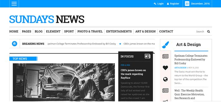 Sunday News is the ultimate WordPress theme for establishing an online newspaper, magazine or blog. This theme covers itself modern and minimalist design that uses only a few dominant colors of white, black and blue and eliminates redundant elements to power a content-rich magazine site. The theme features a modern and stylish, fully responsive and [