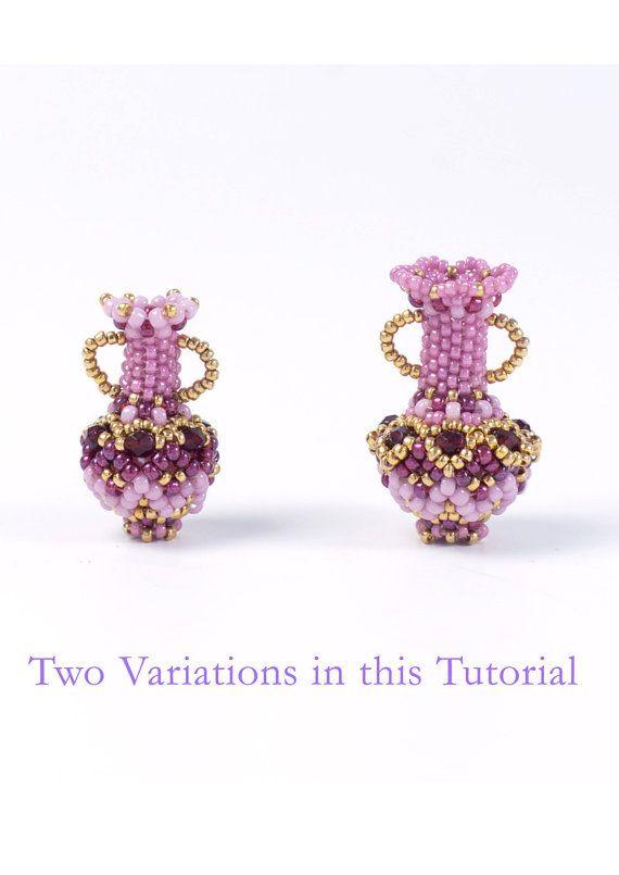 Pendant patterns, beaded bottles, seed bead patterns, PDF beading tutorial, bead…