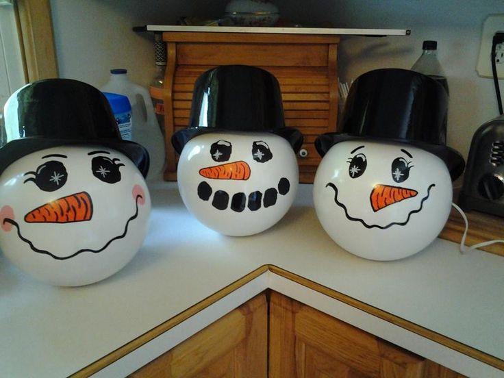 Snowmen bowling balls