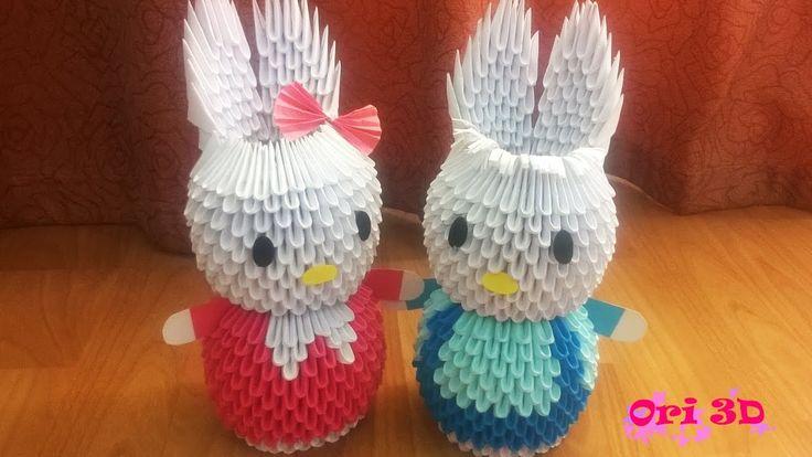 Tutorial Rabbit Couple 3D Origami - Hướng dẫn xếp cặp thỏ Origami 3D