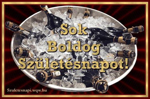 Szülinapi képeslap férfiak részére, sok jégbe hűtöttt pezsgővel.