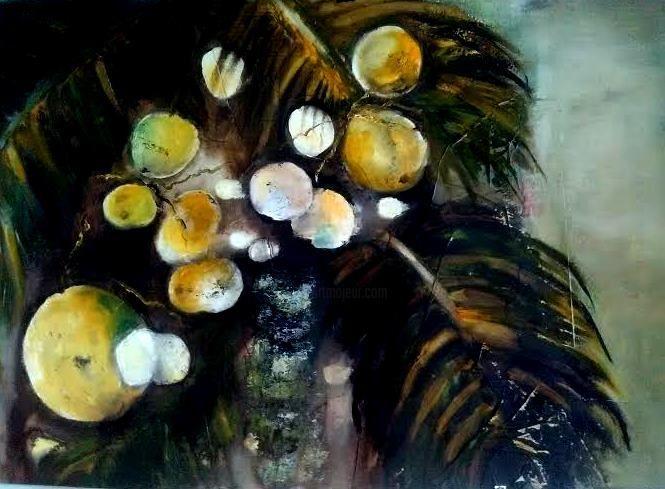 coco.jpg - Pintura,  70x50 cm ©2017 por Iryna Gragera -                                            Papel, Botánico, palma, botanico, coco, iryna gragera