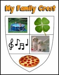 Printable Family Crest. A family crest is a group of pictures or symbols that represent your family. Make your own family crest by drawing or cutting and pasting pictures that represent your family. For more Brownie Badge help go to MakingFriends.com