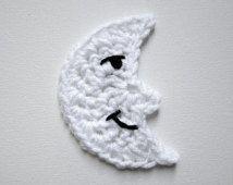 "1pc 4"" Crochet MOON Applique"