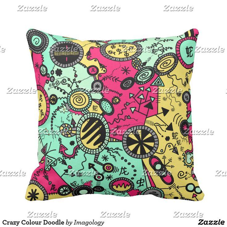 Crazy Colour Doodle Throw Pillow
