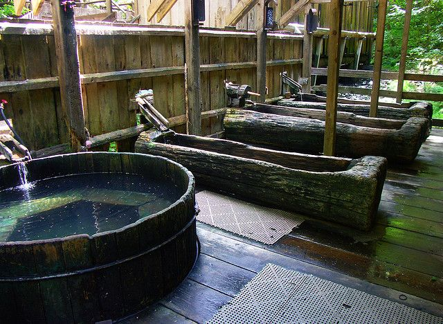 Bagby hot springs, OR You have to hike about 3 miles through the forest to get there. It's got wonderful wooden tubs that you can soak in!