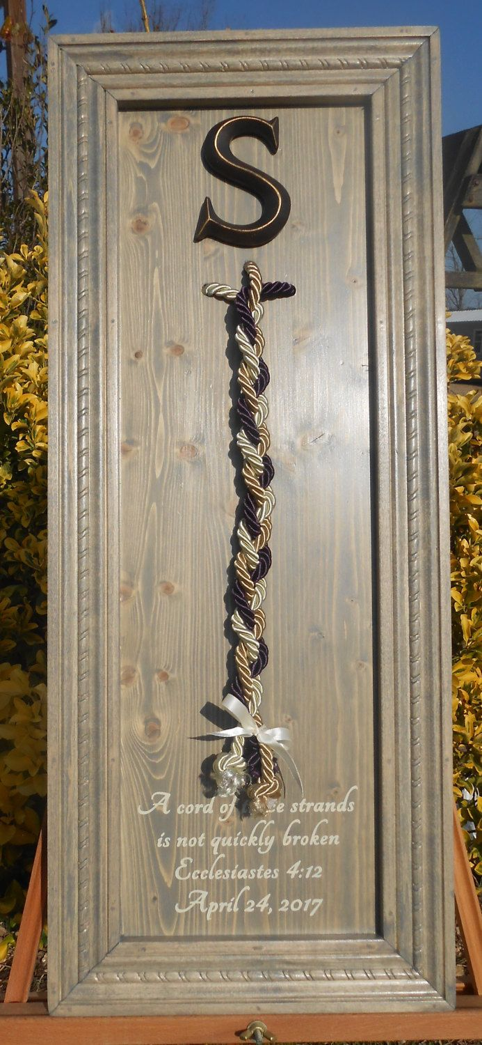 God's corded knot with verse, a cord of three strands,colored cord,wedding unity ceremony, alternative unity symbolism, wood wedding sign by TheGrayDazey on Etsy