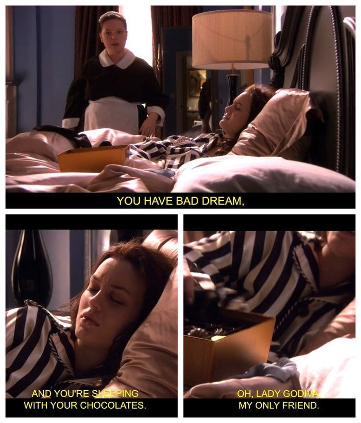 Spotted: Blair Waldorf, sleeping with chocolates. Gossip Girl, Season 1.