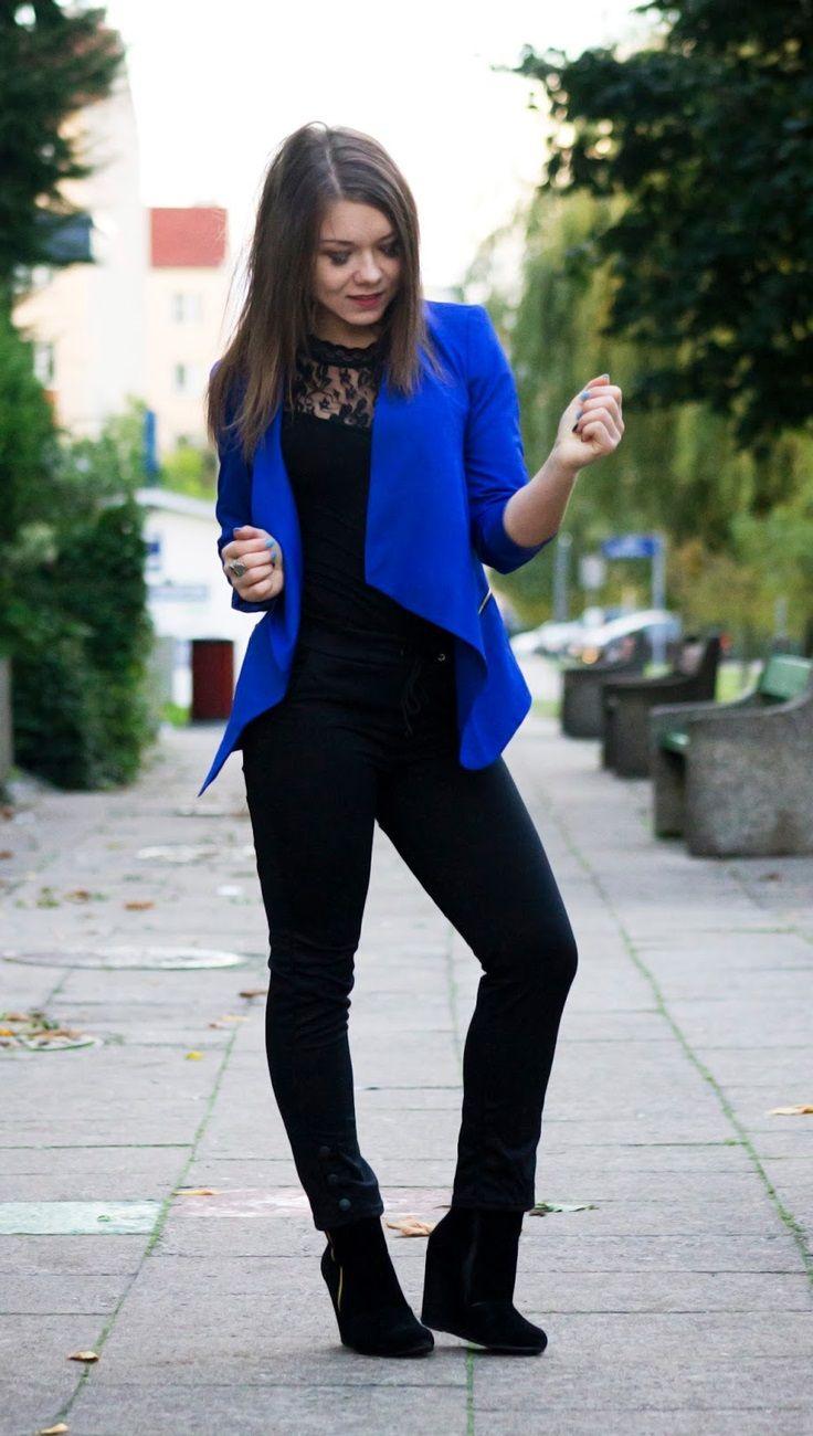 8c134dd7c670 A groovy look by Agnieszka W. with her royal blue draped blazer.  LBSDaily