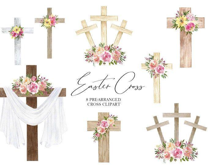 Watercolor Floral Crosses Baptism Wood Cross Clipart Hand Etsy Cross Clipart Clip Art Floral Watercolor