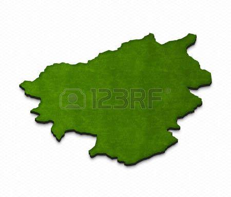 Ilustración de un mapa de tierra verde de Andorra en el fondo de la rejilla. Proyección de perspectiva isométrica 3D derecha. Foto de archivo