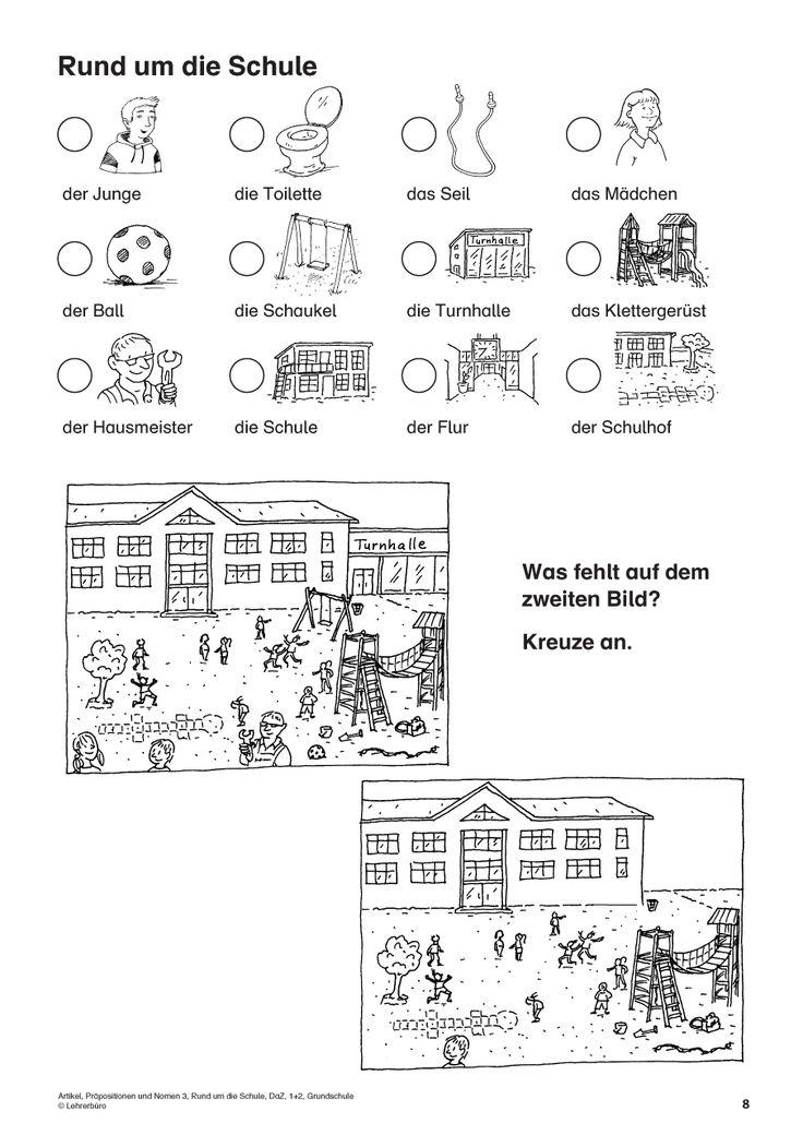 Leseverständnis üben : Artikel praepositionen und nomen rund um die schule daz