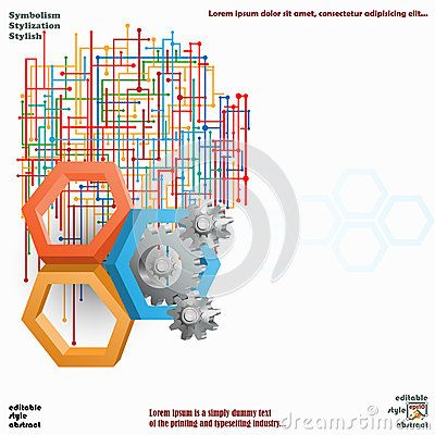 Three dimensions hexagons with cog wheels and colorful web