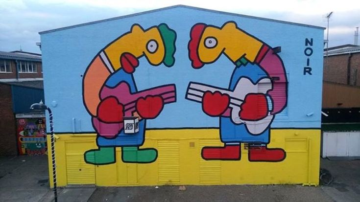 The 'Shapes' mural located on Wallis Road, Hackney Wick. (Photo: Thierry Noir via Facebook)
