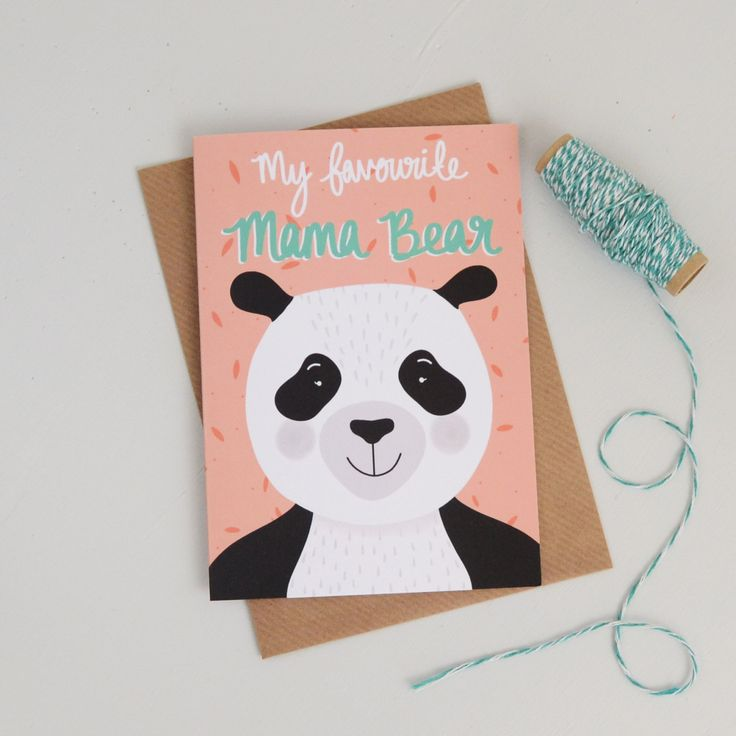 New to HannahStevensShop on Etsy: Mama Bear Card Panda Bear Mothers Day Card Cards for Mums Bear Illustration Panda Card Mothers Day Greetings Card (2.50 GBP)