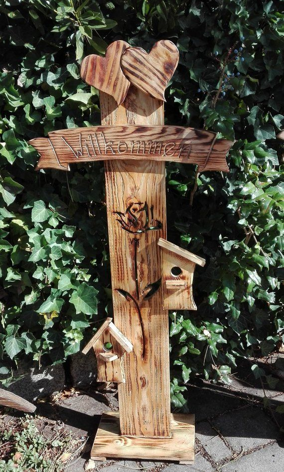 Stele Name Or Welcome Sign Entrance Area Garden Balcony Terrace Nature Handmade Area Balc In 2020 Pallet Projects Garden Garden Projects Cat Playground Outdoor