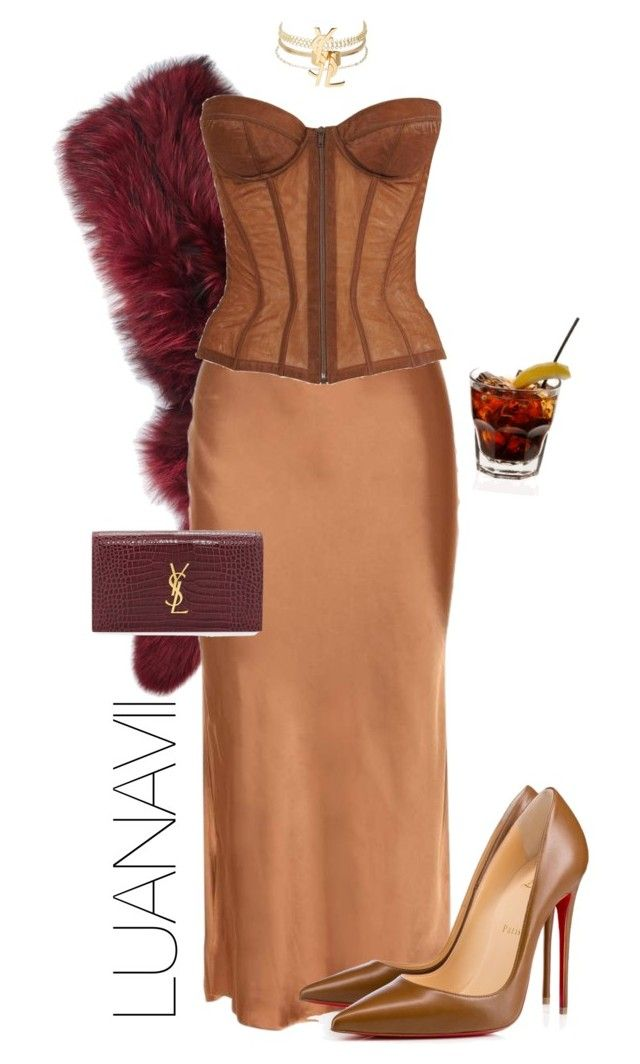 """YSL Cocktail Party"" by luanavii ❤ liked on Polyvore featuring Charlotte Simone, Helmut Lang, Chanel, Charlotte Russe, Christian Louboutin, Yves Saint Laurent, YSL, christianlouboutin and charlottesimone"