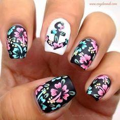 Floral Nail Polish for Spring   Cute Nails by Makeup Tutorials at http://www.makeuptutorials.com/nail-designs-spring-nail-art