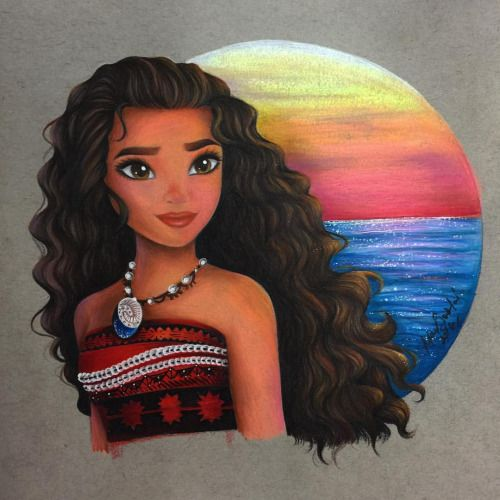 To say that I am excited for this movie is an understatement  I had so much fun coloring this picture!!! I was originally going to do the background in copics but I HATED how it looked. Moana herself was so vibrant and the background just looked...