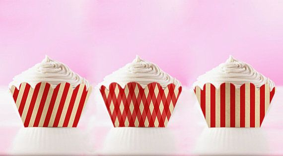 Printable Cupcake Wrappers Red Stripes Wraps DIY Liners Retro