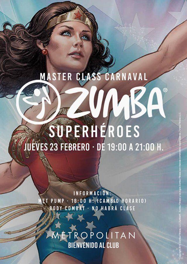 El 23 de febrero a las 19:00h. realizaremos una Master Class de Zumba Especial Carnaval Superhéroes en Metropolitan Aqua.  Información: Met Pump a las 18:00 h. (Cambio horario) Body Combat · No habrá clase