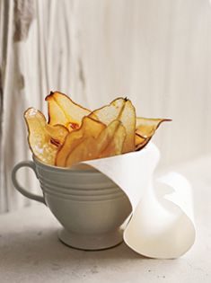 Nice touch for a party cheese tray. pear wafers 2 cups (440g) granulated sugar 2 sensational pears, thinly sliced Preheat oven to 160°C (320°F). Place the sugar on a plate and press the pear slices into it. Place the slices on baking trays lined with baking paper and bake for 15 minutes, turn and cook for a further 15 minutes. Cool on wire racks until crisp.