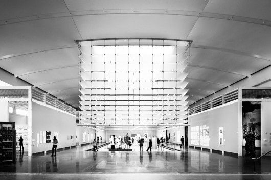 The lobby of the Queens Museum in Flushing Meadows, New York. At this month's Milan Furniture Fair, Grimshaw Architects collaborated on an exhibition with Poltrona Frau. The show included an augmented-reality app—first introduced on the cover of Metropolis in October 2012—that brings 2-D images to life. / © David Sundberg