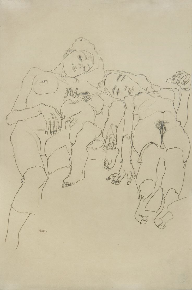 TEFAF Paper, Wienerroither & Kohlbacher, Egon Schiele (Tulln 1890-1918 Vienna), Mother with child and sleeping woman, pencil on paper, 56 x 37 cm, Signed and dated lower left 'S 10', 1910.
