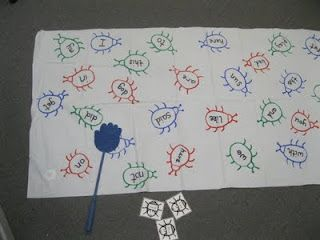 draw bugs with letters on them.  Call out a letter,  have the kids swat the bug with that letter on it.